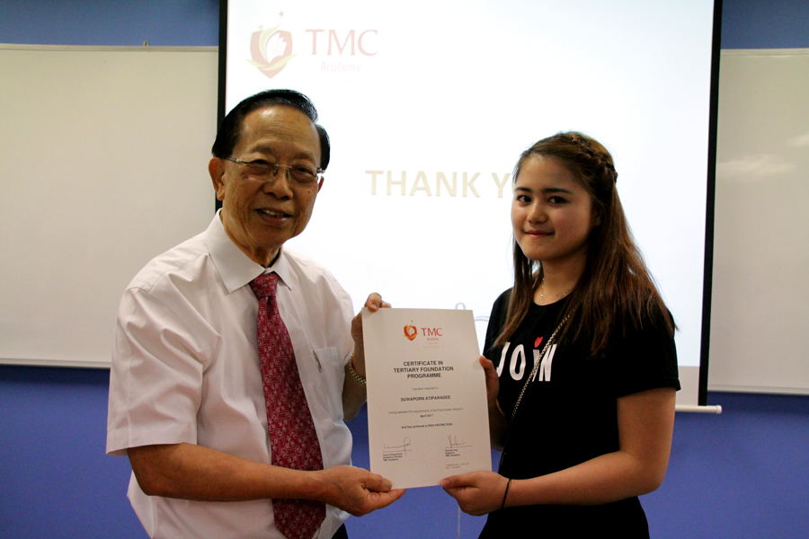 TMC Certificate in Tertiary Foundation Programme High Distinction Achiever - Suwaporn Atiparadee