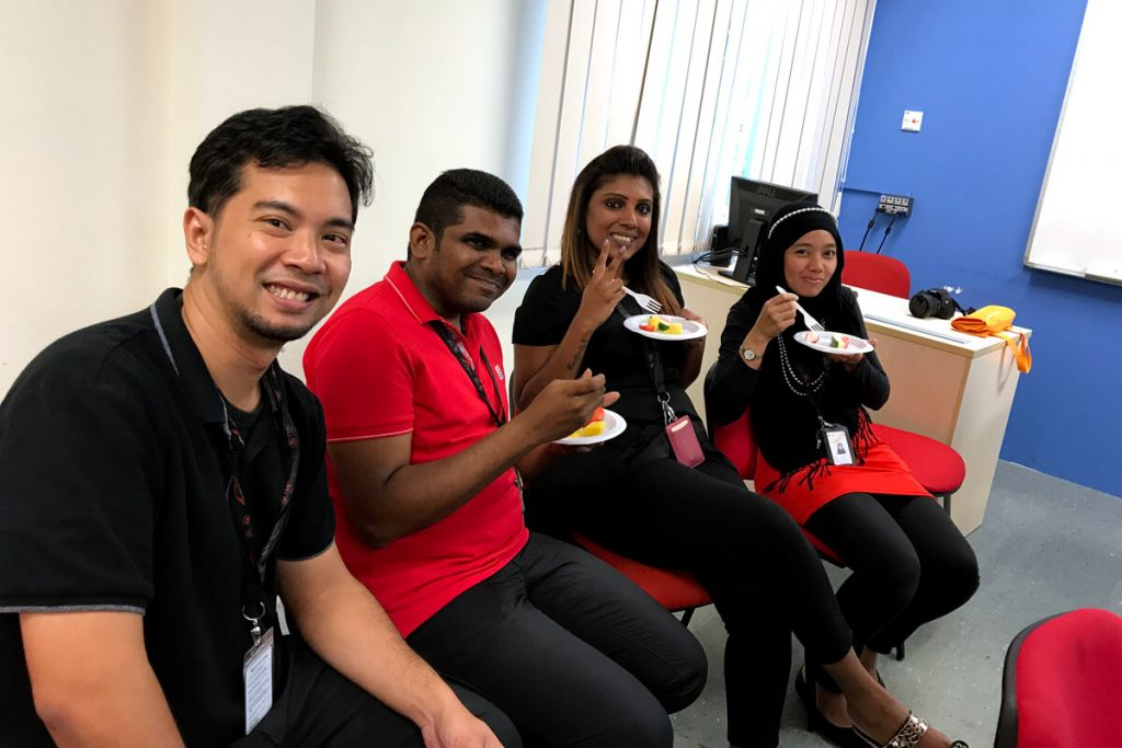 TMC staff catching up over fruits