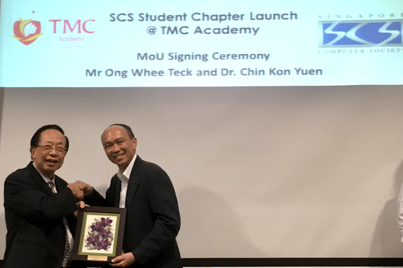 MOU signing between TMC Academy and Singapore Computer Society (SCS) to launch the SCS Student Chapter Programme