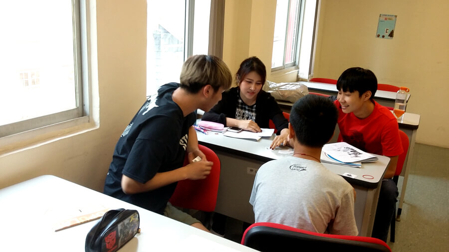 Students working on activities in class