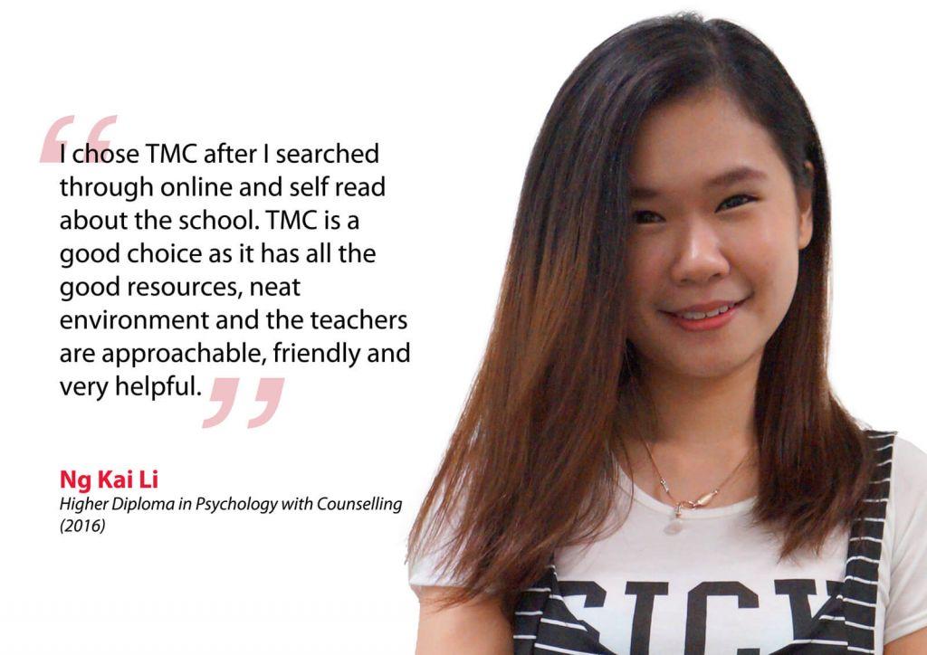 Ng Kai Li Testimonial - TMC Academy Psychology Graduate
