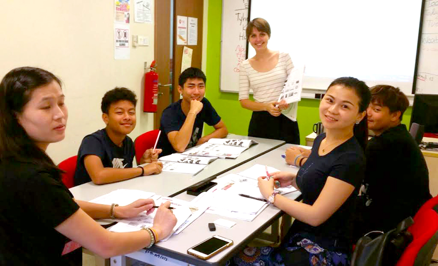 TMC Hawthorn English Lecture Samantha Moberg with her students