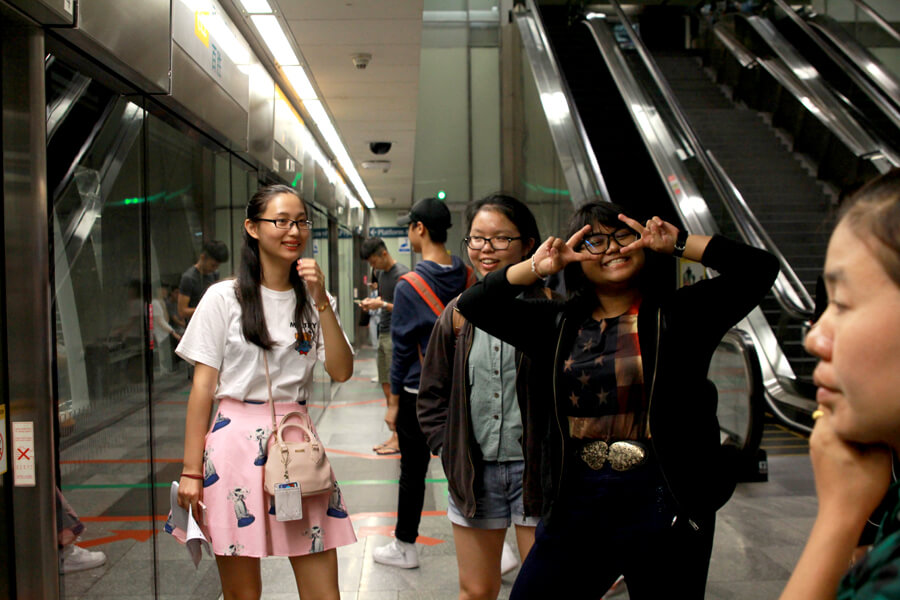 Students Waiting For MRT to Museum
