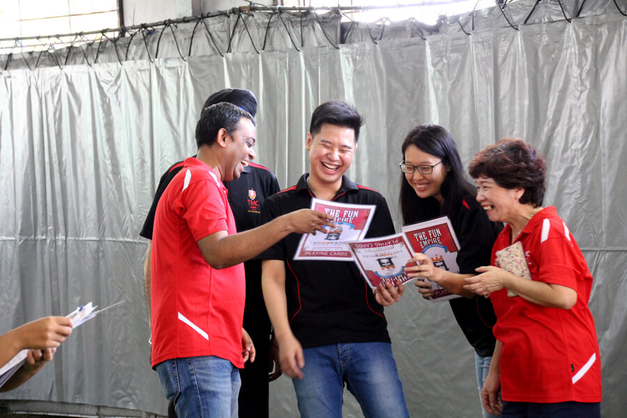 Sabotage team with cards @ Teacher's Day Celebration