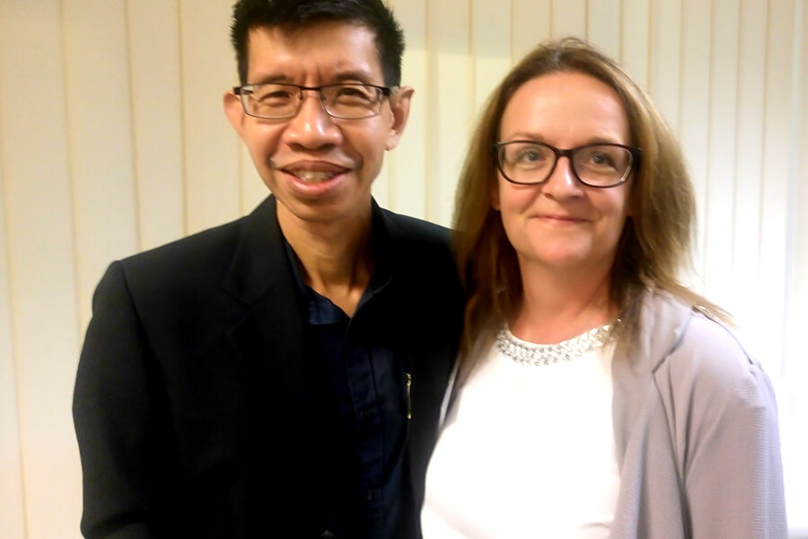 Mr. Raymond With Dr Maggie Anderson, Head of Academic Partnership for Faculty of Business and Law
